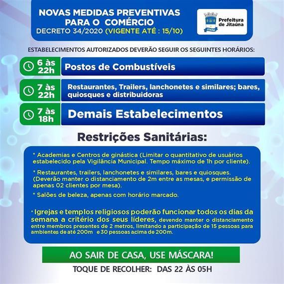 Prefeitura de Jitaúna publica novo decreto municipal com medidas para o funcionamento do comércio.