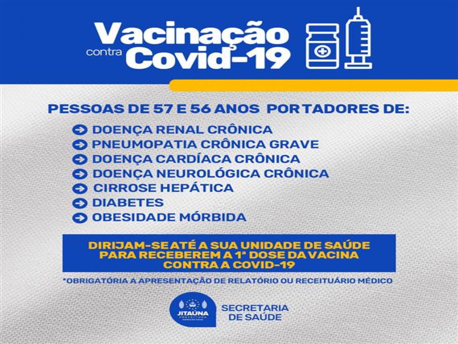 Pacientes com Pneumonia entre outras doenças crônicas serão vacinados contra a Covid-19 em Jitaúna