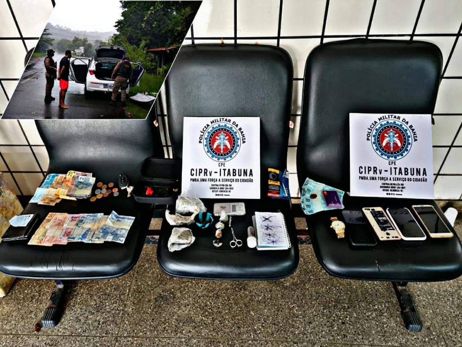 Três homens são detidos com drogas na estrada de Serra Grande