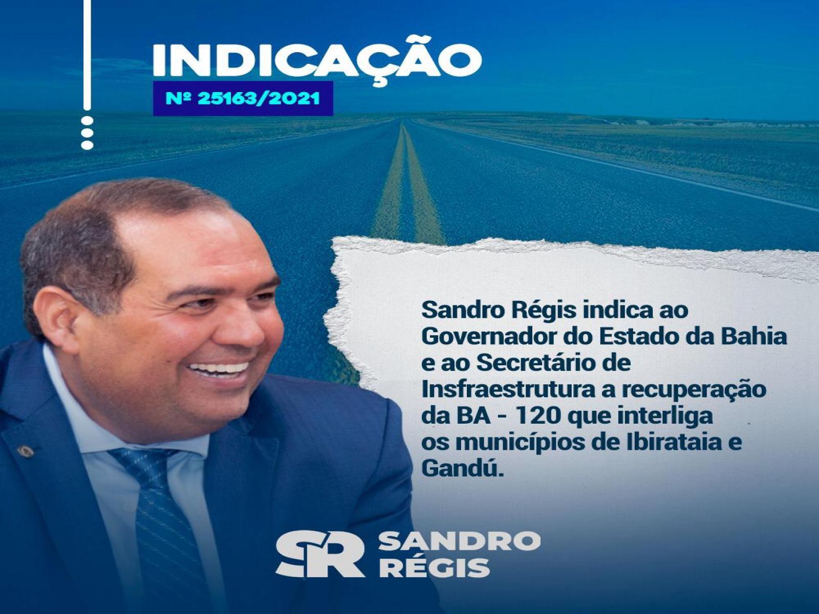 Sandro Régis solicita recuperação da BA 120